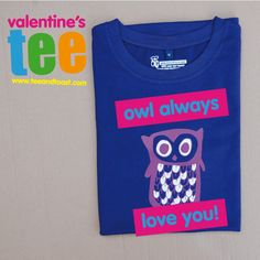 owl tshirt for valentine's day! tees by teeandtoast.com #valentines #owl