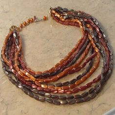 Multi strand vintage beaded necklace brown with ten strands from Hong Kong | Jewels & Finery UK