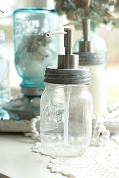 Clear Pint Mason Jar Soap Dispenser, Post Road Vintage on Etsy
