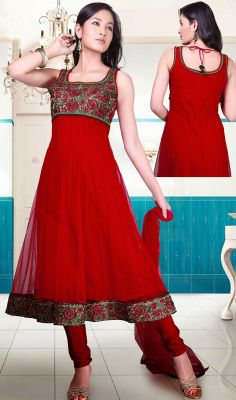 Crimson Net Anarkali Suit with Floral Patch Spruce you persona dressed in this crimson net Anarkali suit. The floral patch and resham work appears chic and ideally suited for any occasion. #BollywoodStyleChuridarSuit #MarvelousDesignerSuits