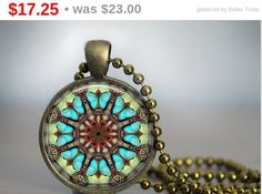 Spring Sale! 145. Hand crafted Round Pendant set in Brass - 2.5cm diameter- includes matching ball chain necklace - Mandala design by tootsun on Etsy