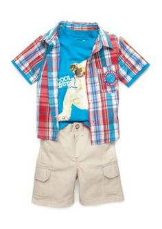 Nannette Red 3-Piece Cool Dude Set Toddler Boys
