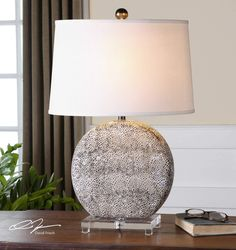 Top off a table with the Uttermost Albinus White Lamp to bring soft light and a touch of organic appeal to your interior. The lamp's round ceramic. Best Desk Lamp, Barn Wood Picture Frames, Origami Lamp, Large Lamps, Art Deco, Bright Homes, Rustic Lamps, Ceramic Table Lamps, Tiffany Lamps