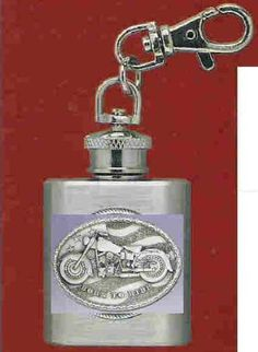 "Motorcycle Stainless Steel Flask Key Chain by Heritage. $12.95. Motorcycle Stainless Steel 1 oz Flask Key Chain with highly detailed emblem in fine pewter Buy Any Two Flask Key Chains & the price will be adjusted to the ""Two for Price"" when the order is processed. This does not apply to Collegiate Emblem Items"