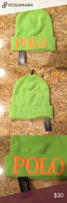 Ralph Lauren Polo Neon Beanie NWT Fun bright green and neon orange POLO beanie, new with tags! Polo by Ralph Lauren Accessories Hats