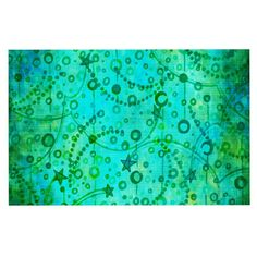 KESS InHouse Ebi Emporium 'Make a Wish II' Teal Green Dog Place Mat, 13' x 18' ** Remarkable product available now.