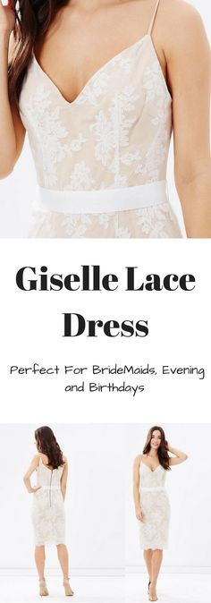 Giselle Lace Dress is a romantic choice for evening events. Crafted from floral lace in a pretty nude hue, the piece has a flattering v-neckline and eyelash trims. You have three color options blush, ivory and nude #wedding #weddingdress #dress #evening #lace #bridemaids #fashion #affiliate #ad