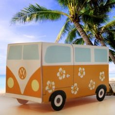 Volkswagen Van Gift Box Papercraft - by Floor Van Der Doelen Valentine Day Boxes, Valentines Day Decorations, Valentine Recipes, Dagobert Duck, Homemade Christmas Crafts, Holiday Crafts, Cardboard Art, Cardboard Boxes, Manualidades