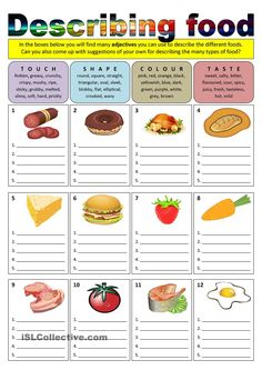 Describing food (adjectives) - English ESL Worksheets for distance learning and physical classrooms Food Vocabulary, Vocabulary Worksheets, English Vocabulary, English Grammar, Printable Worksheets, Adjectives Activities, Comprehension Worksheets, Science Worksheets, Speech Activities