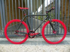Red and black fixed gear.
