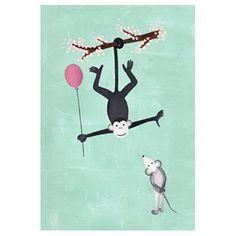 Aap met roze ballon feliciteert muis - A3