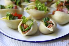 Impress your guests with this beautifully displayed salad in pasta shells.