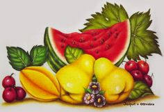 Pintura em tecido. Fruit Painting, Watercolor Fruit, Fabric Painting, Glass Engraving, Country Art, Stencil, Art For Kids, Rangoli Designs, Coloring Tutorial