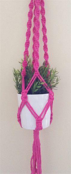 Hot pink Macrame plant hanger