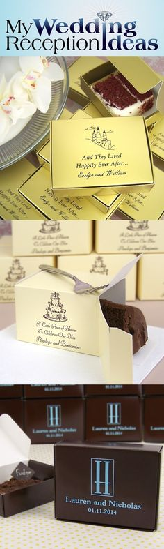Send guests home with a slice of wedding cake, brownies or dessert neatly packaged in cake favor boxes personalized with a design, bride and groom's name and wedding date. Pre assemble the boxes and arrange on your reception cake table or dessert bar as a complimentary decoration. Assign someone to package leftover cake and desserts into the boxes for guests to take home as they leave. Cake slice favor boxes can be ordered at http://myweddingreceptionideas.com/wedding_cake_favor_boxes.asp