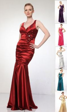 200fb3bbacb Amazon.com   5098 Satin V-neck Bridemaid Prom Formal Long Gown