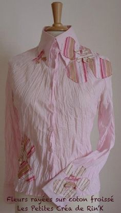 personnalisez vos vêtements : chemise en coton froissé, fleurs rayées appliquées