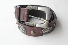 1970's Nanni Concho Belt  Leather Embellished Brown by bazvintage