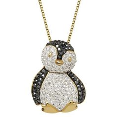 "Oooooh how cute. .89 CT. T.W. Swarovski Crystal Penguin Necklace in Gold Plated Silver - White/Black (18"")"