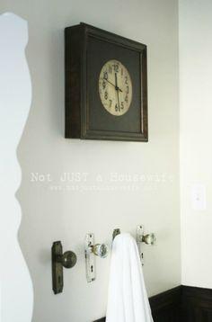 antique door knobs = towel hooks