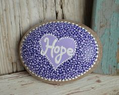 Hope rock, rock art, painted rocks, painted stones, purples, lupus hope, dot art, dot painting, pointillism, etsy, inspirational stone, heart art,
