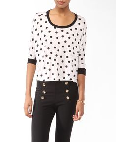 Oversized Polka Dot Print Top from Forever 21 [only $13]