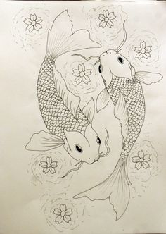 """Koi fish are the domesticated variety of common carp. Actually, the word """"koi"""" comes from the Japanese word that means """"carp"""". Outdoor koi ponds are relaxing. Koi Fish Drawing, Koi Fish Tattoo, Fish Drawings, Art Drawings Sketches, Tattoo Drawings, Pond Drawing, Koi Tattoo Sleeve, Forearm Sleeve, Tattoo Arm"""
