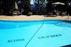 The Cal Neva Lodge, popularized by Frank Sinatra, Dean Martin and Sammy Davis Jr. in the '60s before the glamour of the Las Vegas Strip took the attention away, placed a swimming pool smack dab on the border of the two states. With a little shade being thrown toward the land of Hollywood, the shallow end of the pool was placed on the California side.