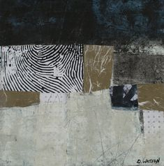 """Puzzle, cold wax and oil paints with collage, by Donna Watson, 12""""x12"""", on sale at Etsy.com"""