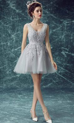 Grey Short Prom Dresses with Applique Lace Up KSP452
