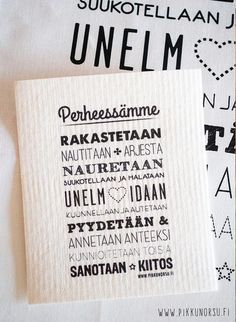 Tässä sieniliinassa on jokaiseen kotiin sopivat perheen säännöt. Siivoaminenkin sujuu mukavammin :) Diy Presents, Kids Songs, Hand Lettering, Lyrics, Poetry, Mindfulness, Humor, Words, Quotes