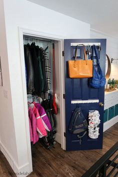 Decluttered Organized Front Entryway Closet As A Coat Closet, Cleaning Closet, Broom Closet, With Storage For Coats, Vac Coat Cupboard, Hall Cupboard, Cupboard Storage, Over Door Shoe Storage, Shoe Cupboard, Broom Closet Organizer, Entry Closet Organization, Backpack Organization, Organization Ideas