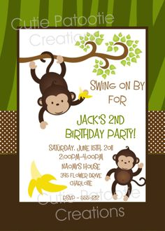 Monkey Birthday Invitation Monkey Birthday Party Invitation Printable Digital Design. $15.00, via Etsy.