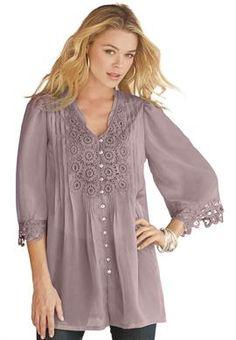 """Juliet"" Lace Bigshirt by Denim 24/7   Plus Size Tops & Tees   OneStopPlus"