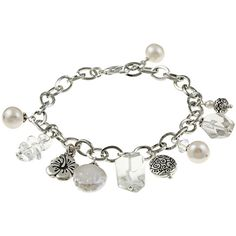 Charming Life Silvertone Clear Quartz and Pearl Flower Charm Bracelet ($21) ❤ liked on Polyvore featuring jewelry, bracelets, white, lobster claw charms, coin jewelry, charm jewelry, coin charms and charm bracelet jewelry