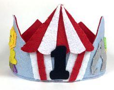 Circus Animals Felt Crown Felt Birthday Crown by HedsThreads