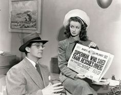 """""""I wouldn't know anything about that, Lois."""" - Kirk Alyn and Noel Neill in """"Superman"""" (1948)"""