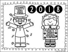 Happy New Year Coloring Pages And Writing Sheets Resolution