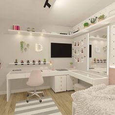 Teen Bedroom Designs, Room Design Bedroom, Bedroom Decor For Teen Girls, Home Room Design, Small Room Bedroom, Bedroom Ideas, Pink Teen Bedrooms, Teen Bedroom Desk, Light Pink Bedrooms
