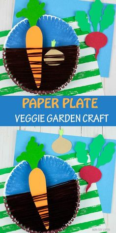 Paper plate veggie garden craft for kids. Learn about root vegetables: carrots, onions and beets. Fun yarn spring craft for kindergartners and older kids. Crafts for kids Paper Plate Veggie Garden Craft For Kids - Easy Spring Craft Garden Crafts For Kids, Paper Plate Crafts For Kids, Farm Crafts, Spring Crafts For Kids, Preschool Crafts, Kids Crafts, Paper Crafts, Garden Kids, Preschool Garden
