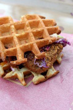 Fried Chicken Waffle Sandwich Camp Woodchuck DL