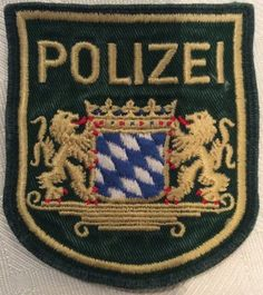 Barvarian State Police Shoulder Patch -- Bayerische Polizei -- Germany Police Patches, Law And Order, State Police, Firefighter, Badges, Natural Gemstones, Germany, Shoulder, Unique