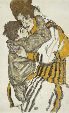 Egon Schiele. La mujer de Schiele con su sobrino, 1915.