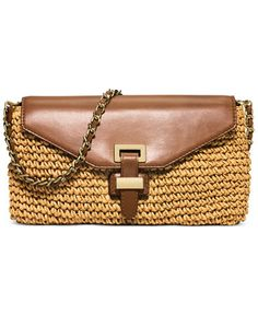 aebbc33bb3de MICHAEL Michael Kors Straw Naomi Large Clutch Straw Handbags