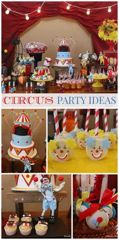 What an incredible Circus party with a beautiful cake and dessert table backdrop! See more party ideas at CatchMyParty.com!