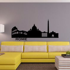 Roma Skyline Wall Decal città sagoma Italia Roma muro decalcomanie vinile adesivi salotto camera da letto ufficio parete arte murales Home Decor C021