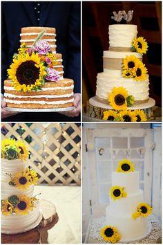 wedding cake ideas with sunflower details