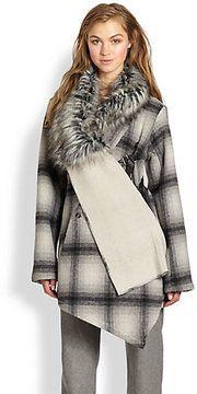 Nicholas K Felder Faux Fur-Trimmed Plaid Coat on shopstyle.com