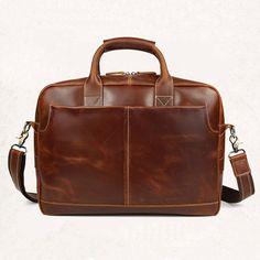 "Image of Vintage Men's 1st Grade Cow Leather Handbag Briefcase Messenger 16"" Laptop Case--FREE SHIPPING"