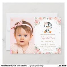 Adorable Penguin Blush Floral 1st Birthday Photo Invitation